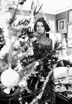Sophia Loren poses by her Christmas tree, 1966