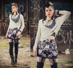 Get this look: http://lb.nu/look/8249209  More looks by Carolyn W: http://lb.nu/carolynm  Items in this look:  Diy, Free People Strappy, Black Milk Clothing Chainmaille, Brandy Melville Usa Knit, Black Milk Clothing Steampunk, Black Milk Clothing Buckled, Steve Madden Grey
