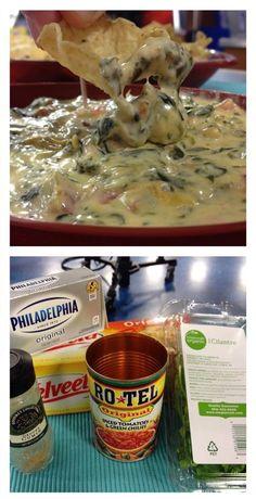 Hot Spinach Salsa Queso Dip: 10 oz frozen chopped spinach (thawed & drained) 1 lb Velveeta cheese 8 oz cream cheese 1 can of Rotel Handful of chopped cilantro Dash of Cumin