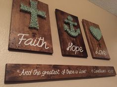 3D Faith Hope Love bible verse Rustic Wooden Sign String Art by RusticGlaze on…