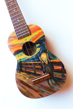 Ready to ship, hand-painted ukulele featuring Edvard Munchs iconic painting, The Scream. The Scream wraps around the sides, and the back is