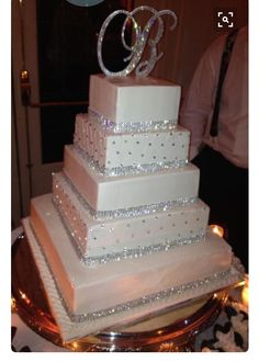 blingy cake with crystal monogram cake topper! blingy cake with crystal monogram cake topper! Bling Wedding Cakes, Elegant Wedding Cakes, Beautiful Wedding Cakes, Wedding Cake Designs, Wedding Cake Toppers, Beautiful Cakes, Amazing Cakes, Trendy Wedding, Bling Cakes