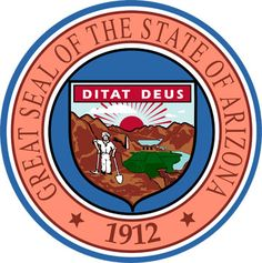 Great seal of Arizona The official seal of Arizona displays the state's main enterprises and attractions. Arizona's state seal is in black and white and features a background mountain range with the sun rising behind the peaks, a storage reservoir (lake) and a dam, irrigated fields and orchards, grazing cattle, and a quartz mill with a miner holding a pick and shovel.