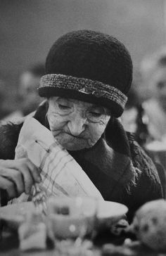 Photo by Jean-Philippe Charbonnier - Soup kitchen, Paris winter. 1950's.