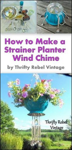 Add some whimsy to your garden, deck, or patio by repurposing a strainer or colander into a hanging planter. Metal measuring spoons act as the chimes adding a lovely sound in the breeze. Planters repurpose How to Make a Strainer Planter Wind Chime Diy Garden, Garden Crafts, Garden Projects, Diy Crafts, Yard Art Crafts, Garden Ideas, Garden Whimsy, Garden Junk, Garden Gate