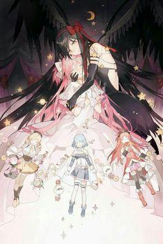 Madoka, Homura Akemi, Mami, Sayaka Miki, Kyoko These are all the characters in this pic✌️ Manga Anime, Fanarts Anime, Anime Characters, Madoka Magica Sayaka, Sayaka Miki, Magical Girl, Photo Manga, Desu Desu, Shoujo