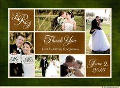 Wedding Multi-Photo Collage Thank You Card - Forest Monogram Layout
