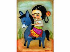 For your walls - Frida Kahlo on donkey painting on canvas Alien Painting, Painting For Kids, Diego Rivera, Frida Artist, Frida Paintings, Frida And Diego, Mexican Art, Portrait Art, Portraits