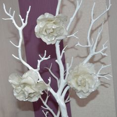 Wedding decorations White and silver roses for by FrivolousCrafts
