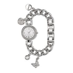 """Watch meets charm bracelet! Disc engraved with """"believe""""."""