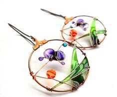Purple butterfly earrings  handmade copper by ThePurpleBalloon, $33.00