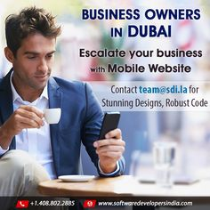 #businessowner #businesswoman #dubaigirl #womaninbizhour #SMB in #Dubai Escalate your business with Mobile website. Call Rob 408.802.2885 or email team@sdi.la to validate your business idea, develop an app or simply get free biz advice from experts who know what works! Let's talk today.