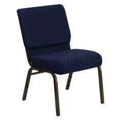 Lowest price online on Flash Furniture Hercules Series Extra Wide Navy Blue Dot Patterned Stacking Church Chair with Thick Seat - Gold Vein Frame Communion Cups, Book Racks, Space Furniture, Furniture Logo, Retro Furniture, Furniture Online, Upholstered Furniture, Blue Fabric, Furniture Collection