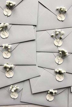 Grey handmade envelopes + white wax seal + gypsophila / © PAPIRA invitatii de n. Gray handmade envelopes + white wax seal + gypsophila / © PAPIRA personalized wedding invitations and wax seals Wedding Invitation Envelopes, Handmade Wedding Invitations, Wedding Stationary, Event Invitations, Invitation Ideas, Invites, Invitations Online, Personalized Wedding, Personalised Napkins