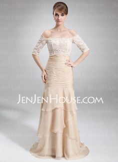 Mother of the Bride Dresses - $142.99 - Mermaid Strapless Court Train Chiffon Mother of the Bride Dress With Ruffle (008006299) http://jenjenhouse.com/Mermaid-Strapless-Court-Train-Chiffon-Mother-Of-The-Bride-Dress-With-Ruffle-008006299-g6299