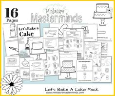 """Let's Bake a Cake - Measuring and Recipe Reading Pack - Includes Early Reader Book """"I Am Baking A Cake"""" This pack is designed to help a child learn to read recipe cards as well as introduce some un. How To Read A Recipe, Worksheets For Kids, Printable Worksheets, Free Printables, Early Readers, Preschool Activities, Writing Activities, Teaching Resources, Teaching Ideas"""