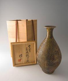 "Tatsuzo Shimaoka, vase, rope and slip inlay with natural ash glaze, stoneware, 12.75 x 7 x 7"""