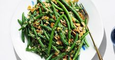 Butter makes everything better, and butter-fried almonds complete this green bean salad. Green Bean Salads, Green Beans, Bean Salad Recipes, Preserved Lemons, Vegetarian Paleo, Lemon Recipes, Delish, Vegetables, Healthy