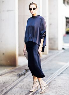Navy blue sweater + midi skirt + caged sandals