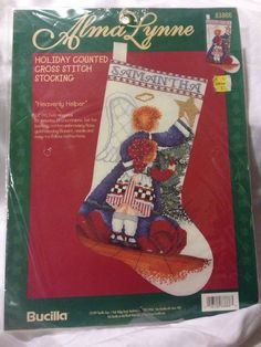 NIP Bucilla Cross Stitch Christmas Stocking Kit Heavenly Angel Girl Tree Country #Bucilla #Stocking