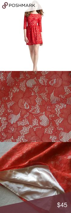 French Connection Lizzie Strawberry Red Lace Dress Excellent condition, only worn once. Currently retailing online over $80. Beautiful lace overlay with silky material slip built in. Color is a mix between red and orange. French Connection Dresses