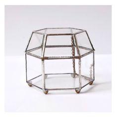 Vintage Hexagonal Silver glass box/ by JanisilverisDesign on Etsy