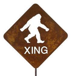 Bigfoot Crossing Steel Yard and Garden Sign