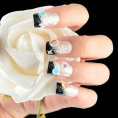 Material: Plastic Color: White Type: Decal Item: Nail Art Decal Sticker Great for both professional nail specialist or nail art learner It makes your nails look elegant and special Glitter on the nail