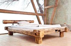 gerenda ágykeret, diy bútor Bed Frame Design, Bed Design, House Design, Bed Furniture, Rustic Furniture, Good Night Sweetheart, Rustic Bedding, Wooden Flowers, Outdoor Chairs
