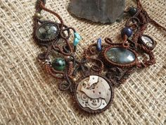 Items similar to Necklace macarame stimpunk with mechanisms of watches and stones: Labradorite, rutile Quartz, Turquoise, Jade, Lapis Lazuli and Jasper on Etsy Macrame, Turquoise Necklace, Steampunk, Trending Outfits, Drop Earrings, Unique Jewelry, Handmade Gifts, Bracelets, Anime