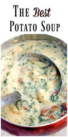 The Best Potato Soup...a thick , creamy, hearty soup that's absolutely delicious! This is a very satisfying dinner loaded with potatoes, bacon and kale. via @https://www.pinterest.com/BunnysWarmOven/bunnys-warm-oven/