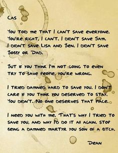 If Dean kept a journal