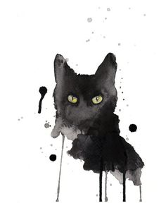 Sticker de chat noir - aquarelle Estampe - giclée d
