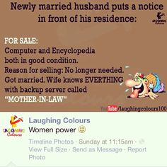 Its Good to #LAUGH - Newly married husband puts a notice in front of his residence..... #Fun #Humor #Humour #Funny #Joke #MotherInLaw #Wife #Computer #Server #Backup #Hardrive #Women #WomenPower #Power #Powerful #GirlPower #BeHappy #EnjoyLife #GoodVibes #GoWithTheFlow #Harmony #Joy #wellbeing ----------------------------------www.BlueCamperVan.com #TheVehicleForPositiveChange ✌fb: @BlueCamperVan ✌☮twitter: @BlueCamperVan ----------------------------------