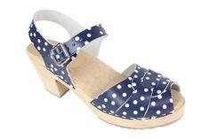 Lotta From Stockholm : Womens High Heel Peep Toe Wooden Clogs in Blue Polkadot Pattern