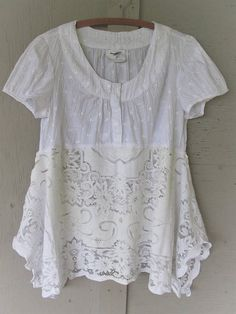 RESERVED ............ for Bonnie                               repurposed clothing Lagenlook white lace tunic upcycled top Wearable Art recycled shirt fun clothes eco Funky top LillieNoraDryGoods  Dressy or casual, comfy............layering style, cotton eyelet shirt with vintage peek a boo lace bottom  - Restyled cotton blend eyelet shirt - added vintage cotton lace bottom  Colors............. crisp white, antique white  Frayed, raw and zigzagged edges.  gentle washing estimated size X…