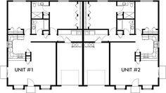 Main Floor Plan 2 for One story duplex house plans, 2 bedroom duplex plans. - House Plans, Home Plan Designs, Floor Plans and Blueprints 2 Bedroom Floor Plans, Duplex Floor Plans, Apartment Floor Plans, House Floor Plans, Garage House Plans, House Plans One Story, Family House Plans, Small House Plans, Duplex Design