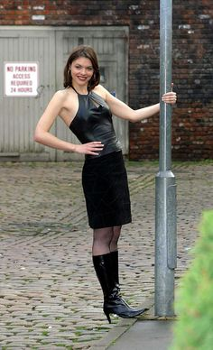 Kate Ford on the cobbles Curvy Women Outfits, Clothes For Women, Coronation Street Cast, Fit Women, Sexy Women, Tv Girls, Rock Outfits, Cool Boots, Mini Skirts
