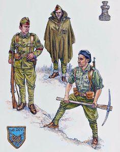 """""""Nationalist Forces - Regular Troops: • Cabo, infantry, 60a División • Soldado in winter campaign dress • Sapper, Agrupación de Minadores"""", Stephen Walsh"""