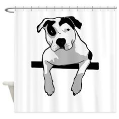 Pit Bull T-Bone Shower Curtain on CafePress.com