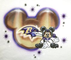 Airbrush Custom Mickey Mouse Football Player Baltimore Ravens Moving To Florida, Baltimore Ravens, Just For Fun, Airbrush, Mickey Mouse, Football, Unique Jewelry, Disney, Handmade Gifts