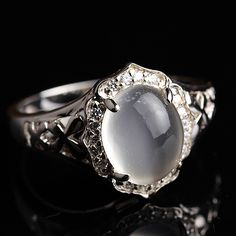 Crystal natural moonstone ring fashion vintage 925 pure silver jewelry(China (Mainland))
