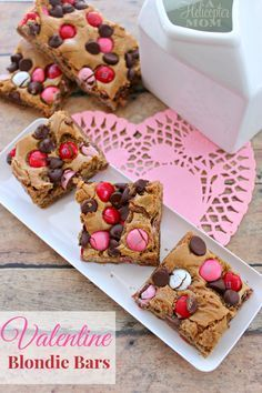 Easy Valentine Blondie Bars with M&Ms and chocolate chips - a huge hit for Valentine's Day!