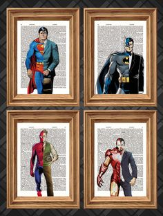 Marvel, DC Super Heroes Four Print Deal - Dictionary Art Print Up-cycled Antique Book Art Page, Wall Decor, Wall Art , Mixed Media Collage on Etsy, $18.43