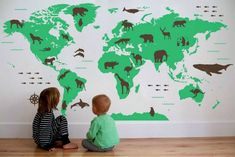 World Map Wall Decal with Animals by Map Decal on Etsy