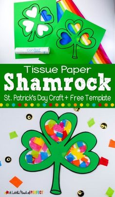 Kids will have fun making a shamrock filled with rainbow colors using our free craft template, tissue paper, and creativity. It's a perfect craft activity for kids to make this St. Patrick's Day. Saint Patricks Day Art, St Patricks Day Crafts For Kids, Spring Crafts For Kids, St Patrick Day Activities, Craft Activities For Kids, Preschool Crafts, March Crafts, St Patrick's Day Crafts, Sant Patrick