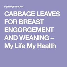 CABBAGE LEAVES FOR BREAST ENGORGEMENT AND WEANING – My Life My Health