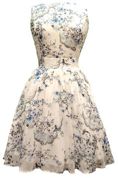 Ditsy White Butterfly Chiffon Tea Dress - Lady Vintage, London
