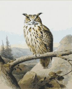 Great Horned Owl Cross Stitch Pattern, Edouard Travies, Instant Digital Download Counted Cross Stitch Chart, Needlework, Embroidery Pattern