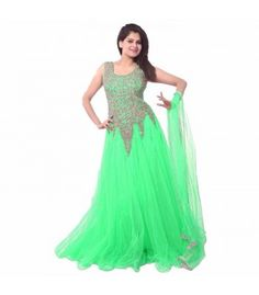 Net Embroidered Semi-stitched Gown